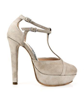 zapatos de mujer estilettos de novia en ante nude con plataforma, doble pulsera y tacón de 12 cm