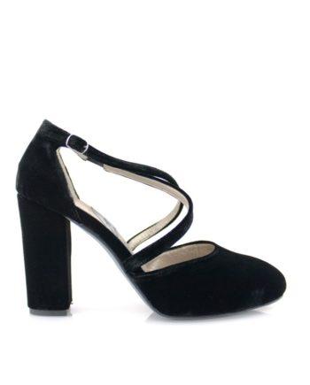 zapatos negros de terciopelo con tacon ancho de 8 cm y plataforma oculta