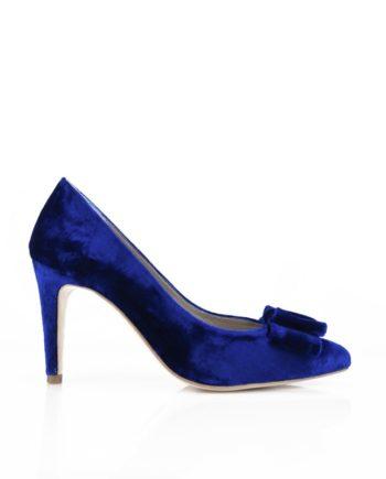 zapatos de terciopelo azul con tacon de 8 cm