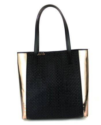 bolsos shopping en piel trenzada de varios colores negro oro verde marron