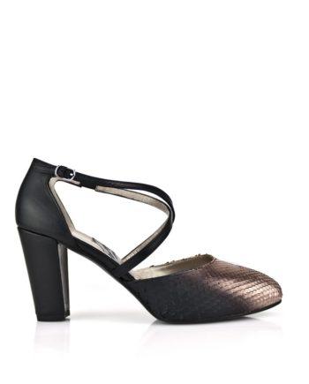 zapatos negros de mujer salon en piton y piel negra tacon ancho de 8 cm