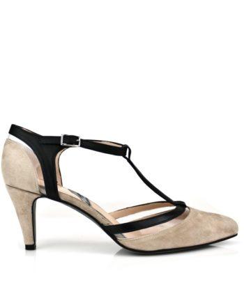 zapatos salon de mujer ante nude y piel negra con vinilo transparente y tacon de 6 cm