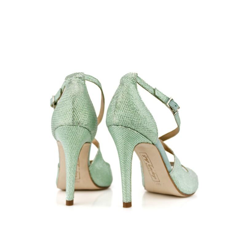 sandalias verdes aguamarina gliter fantasia novias 2018
