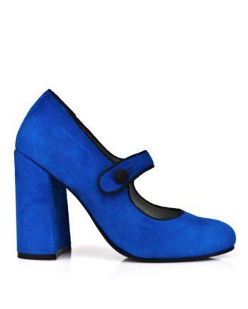 zapatos salon azules en ante indigo con tacon ancho de 9 cm