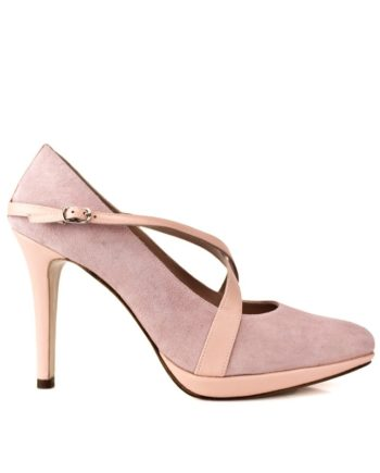 zapatos de novia con plataforma y tacon de 10 cm en ante y piel color rosa