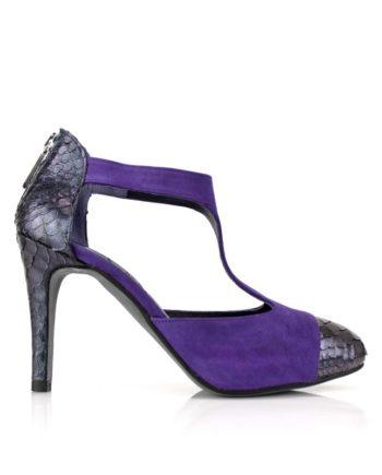 zapatos con plataforma oculta y tacon de 8 cm en ante y piton tornasolado