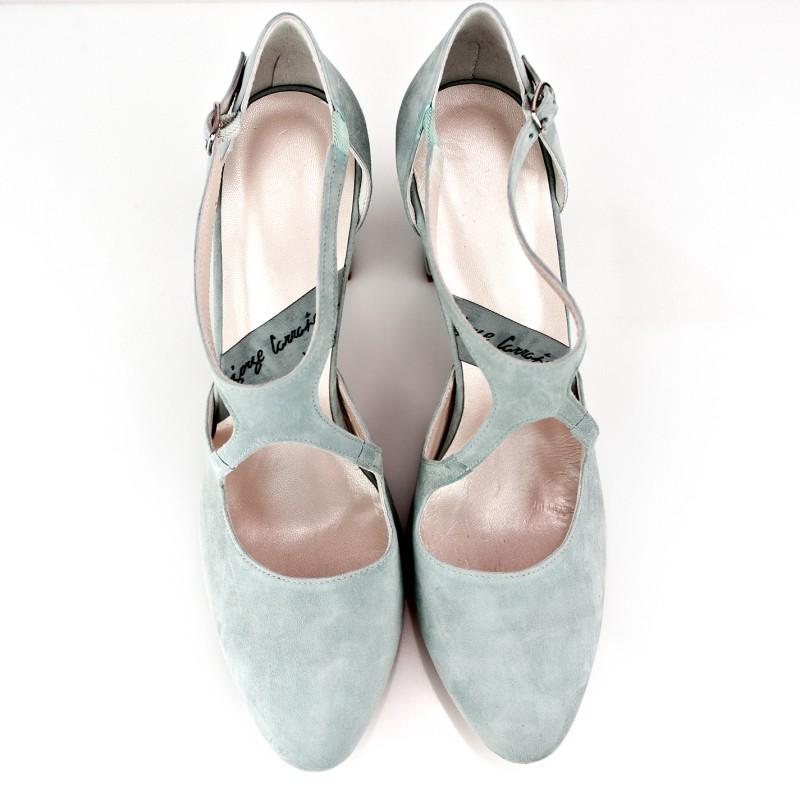 zapatos de novia con plataforma oculta y tacon de 8 cm en ante azul agua