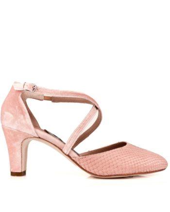 zapatos de novia rosas en piton y terciopelo con tacon de 6 cm
