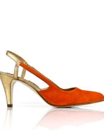 zapatos mujer de fiesta en ante y piel metalizada con tacon de 6 cm