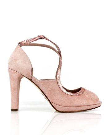 zapatos peeptoes de novia rosas con plataforma y tacon de 9 cm