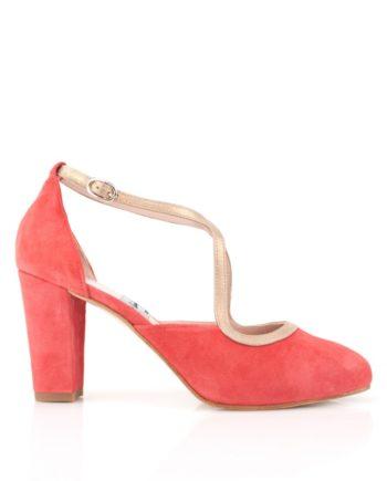 zapatos salon de mujer de fiesta en ante rojo devil y piel metalizada oro con tacon ancho de 8 cm y plataforma oculta