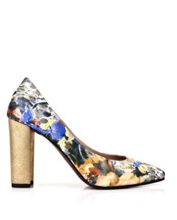 zapatos salon stiletto con estampado de flores y tacon ancho en piel metalizada oro de 8 cm