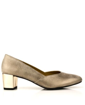 zapatos planos con tacon ancho redondo de 5 cm en piel metalizada color oro
