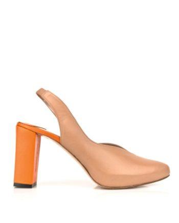 zapatos salon abierto detras en piel marron con tacon ancho naranja