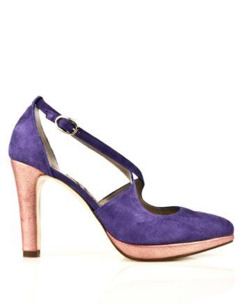 zapatos salon fiesta plataforma y tacon 9 cm rosas y violeta piel