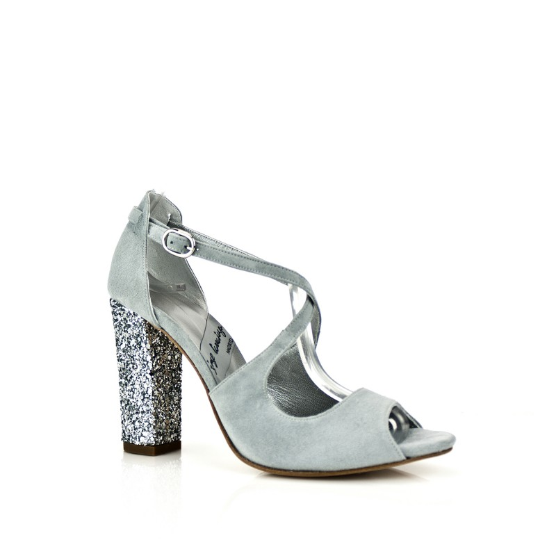 sandalias color gris de novia con tacon 9 cm glitter plata