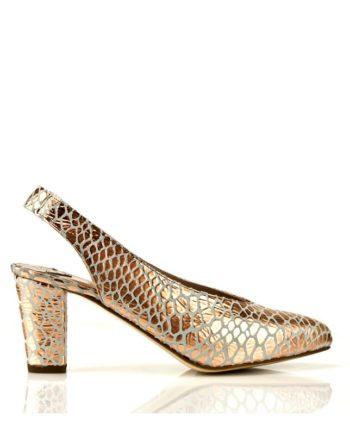 zapatos salon fiesta color oro piel metalizada plataforma oculta tacon 7 cm