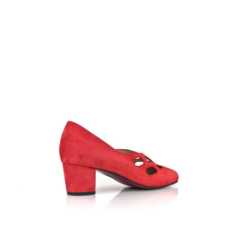 zapatos ante rojos de mujer ancho especial