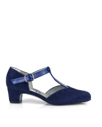zapatos azules en ante y charol con pulsera y hebilla tacon 4 cm