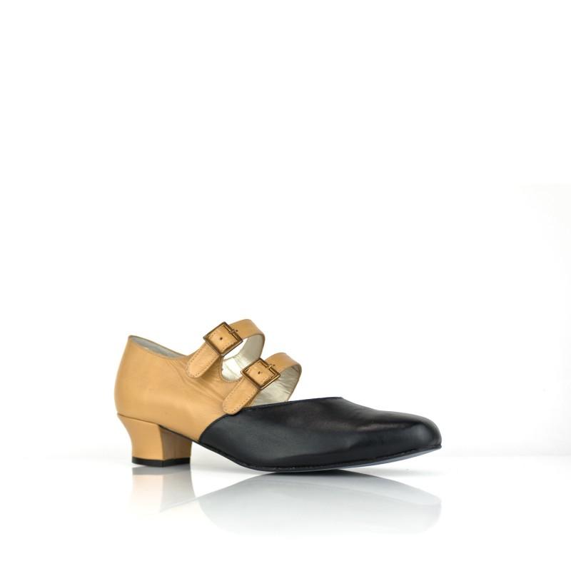 zapato salon ancho especial de mujer en piel negra y camel tacon 4cm