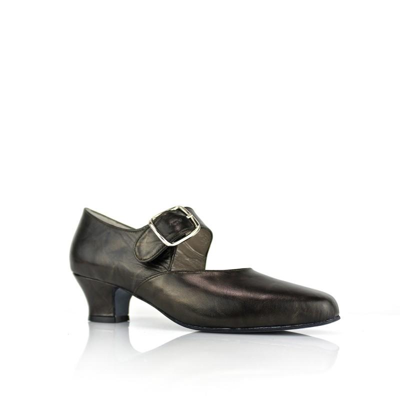 zapato salon ancho especial de mujer en piel negra con reflejos oro