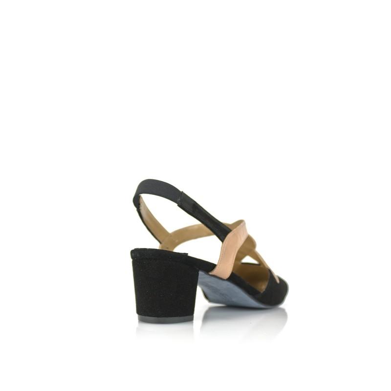 zapato salon ancho especial de mujer en piel negra y nude tacon 4 cm