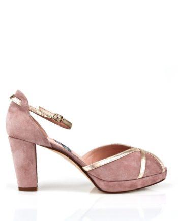 zapatos ppeptoes ante nude con tacon gordo ancho de 8 cm
