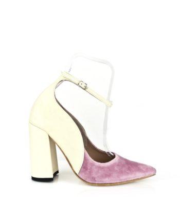 zapato de mujer salon, de boda novia en terciopelo malva