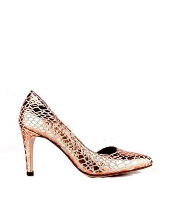 zapato salon stiletto en piton arcilla