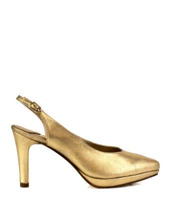 zapatos de fiesta dorados mujer en piel metalizada con plataforma y tacon de 8 cm