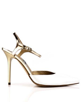 Sandalias de novia blancas con pulsera y tacon de 9 cm en piel oro