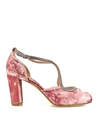 zapatos salon de terciopelo rosa y tacon ancho de 8 cm