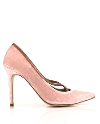 zapatos salon de mujer stilettos en terciopelo rosa con tacon de 10 cm