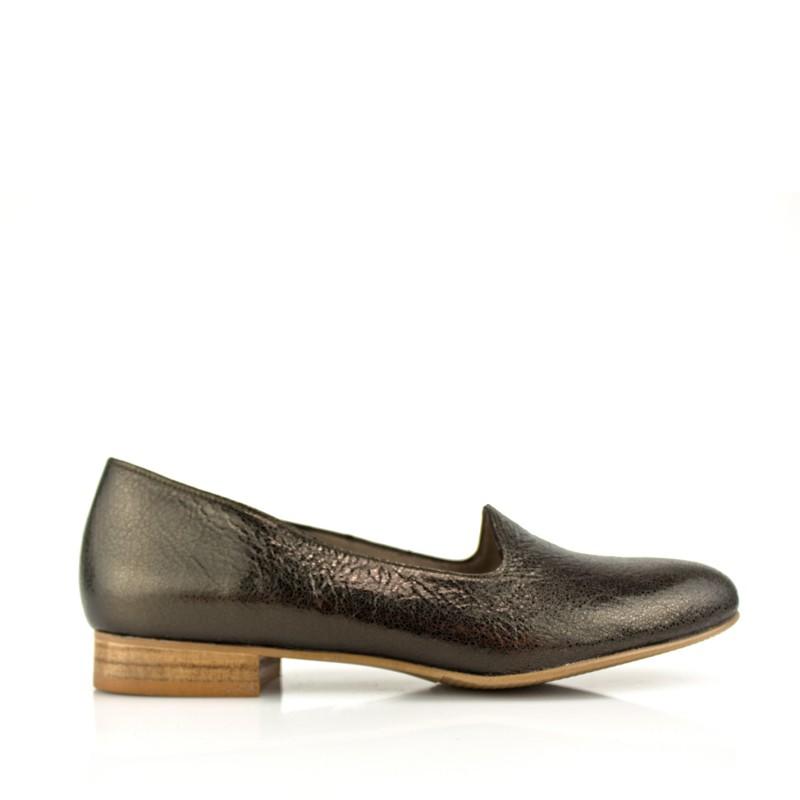 zapatos planos mujer piel metalizada color cobre