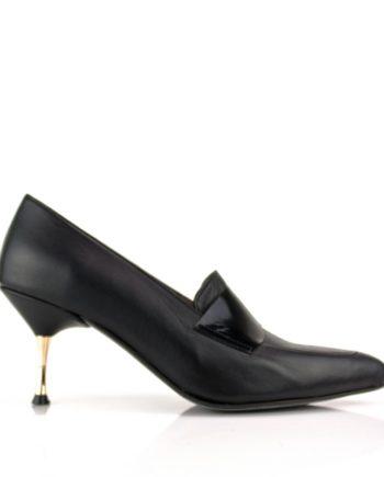 Zapatos salon negros en piel con antifaz y tacon de 6 cm oro