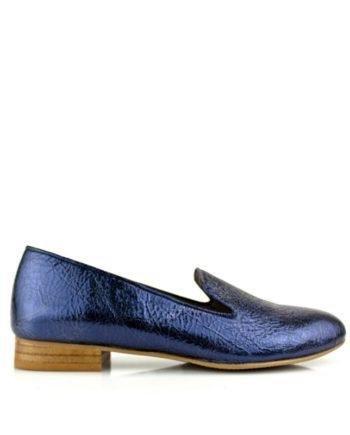 zapatos planos de mujer en piel metalizada color morado ultra violeta
