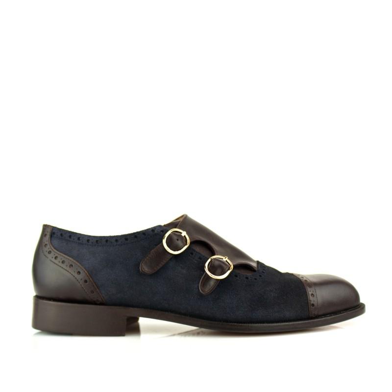 zapatos de caballero moonkstrap azules doble hebilla hechos a mano