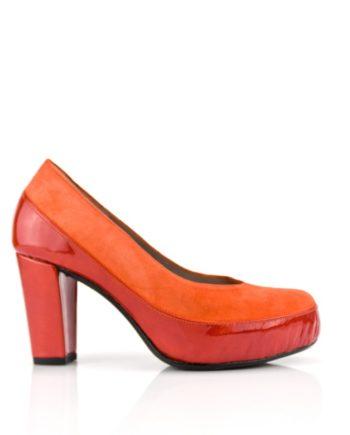 zapatos salon de mujer naranjas en ante y charol tacon 8 cm