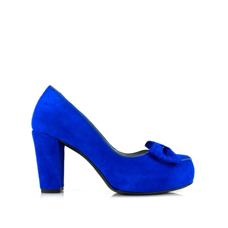 zapatos azules de mujer salon con tacon ancho de 8 cm con lazo