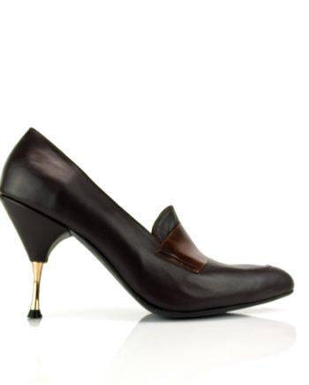 stilettos mujer negros con antifaz y tacon dorado de 8 cm