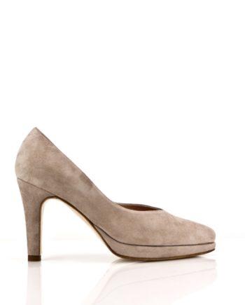 zapatos salon stilettos en ante nude con plataforma y tacon de 8 cm