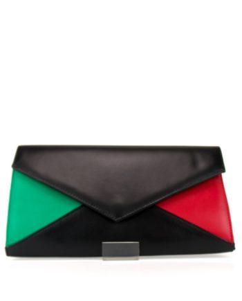 bolso negro rojo y verde tricolor tipo sobre