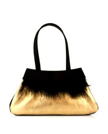 bolso de fiesta noche en piel metalizada oro y plumas