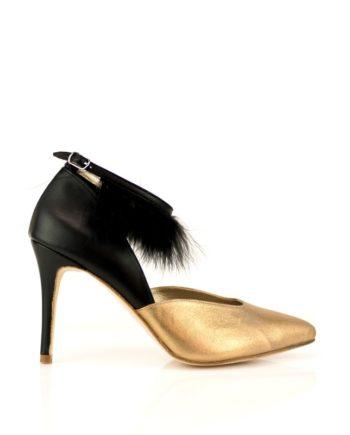 Zapatos de mujer negros y dorados con plumas negras y tacon de 9 cm