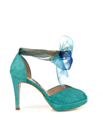 Zapatos peeptoes en ante verde con organza tacon 8 cm y plataforma