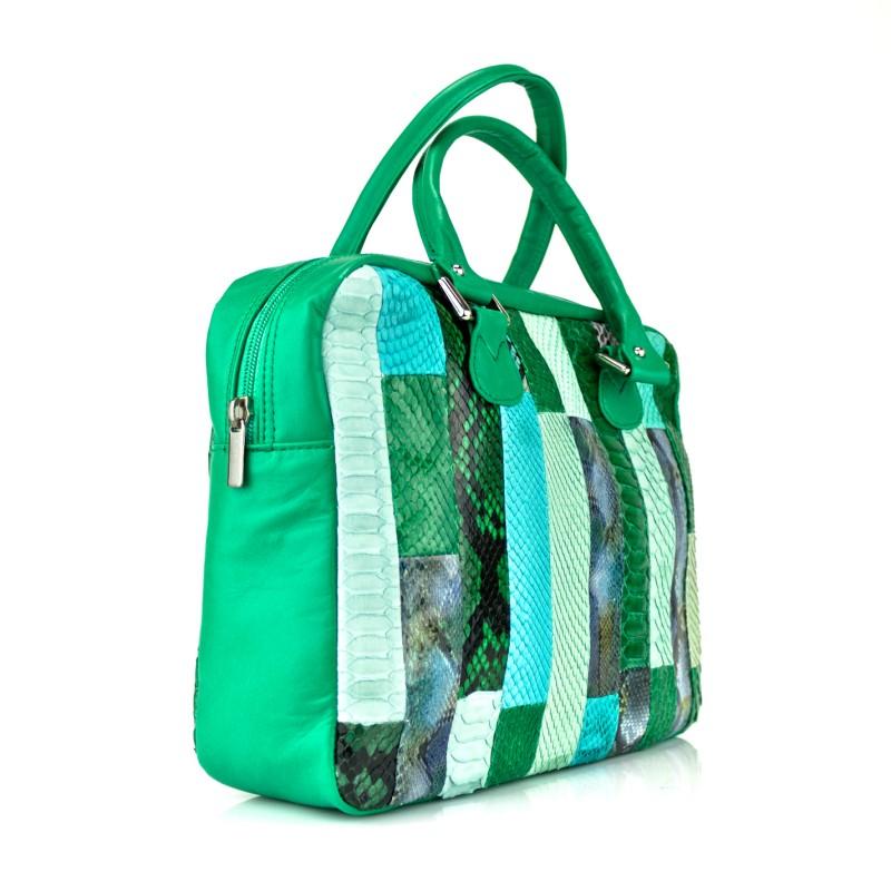 bolso bowling en patchwork piton y piel verde