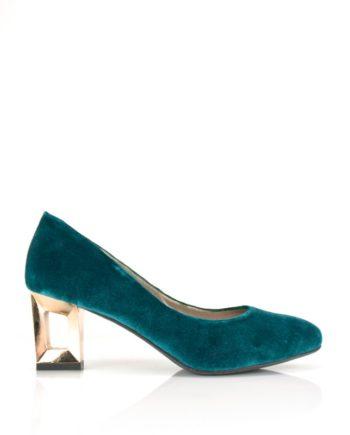 zapatos de terciopelo azul verde turquesa con tacon metal oro 6 cm