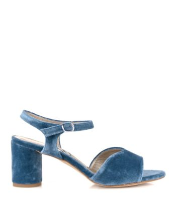 sandalias de mujer en terciopelo azul con tacon redondo de 6 cm