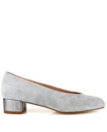 zapatos planos grises en ante y piel metalizada