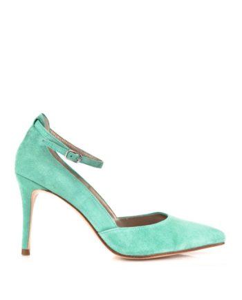 zapatos salon de mujer con pulsera en ante verde y tacon de 8 cm